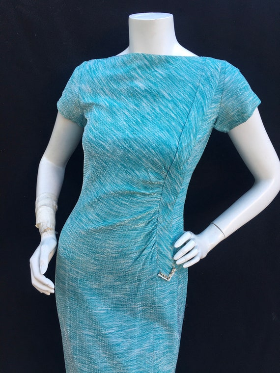 1950s 50s Chromespun Lurex Turquoise rhinestone co