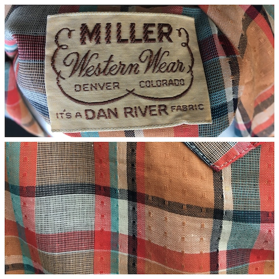 Vintage 1940s 1950s Western Plaid shirt/Blouse MI… - image 10