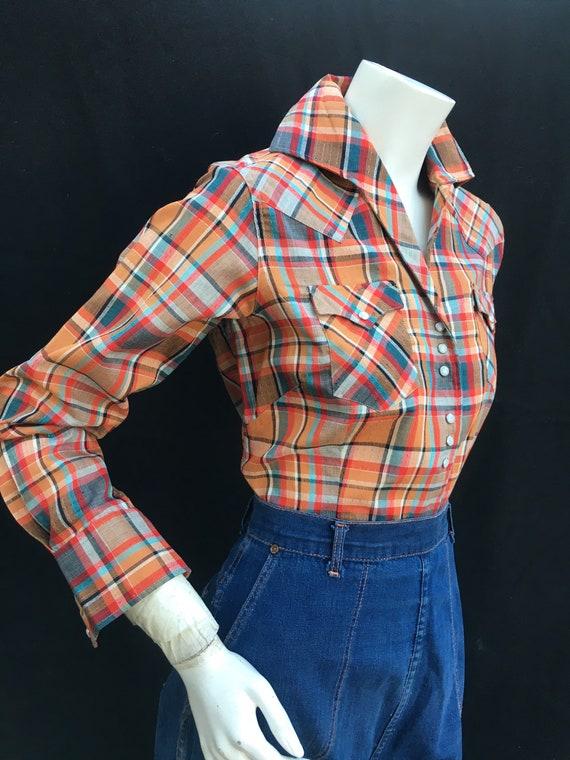 Vintage 1940s 1950s Western Plaid shirt/Blouse MI… - image 4