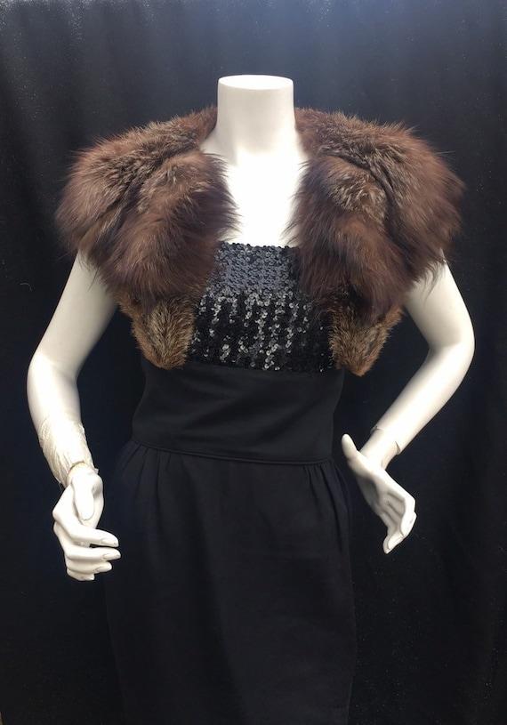 Vintage 1940s 40s fur collar wrap