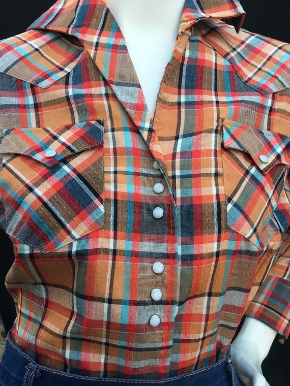 Vintage 1940s 1950s Western Plaid shirt/Blouse MI… - image 5