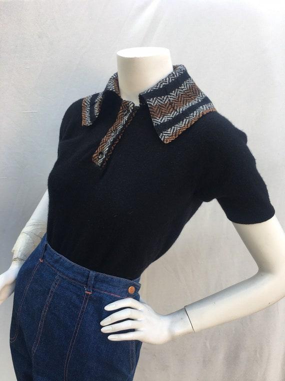 Vintage JD 1950s 50s Black short sleeve cashmere p