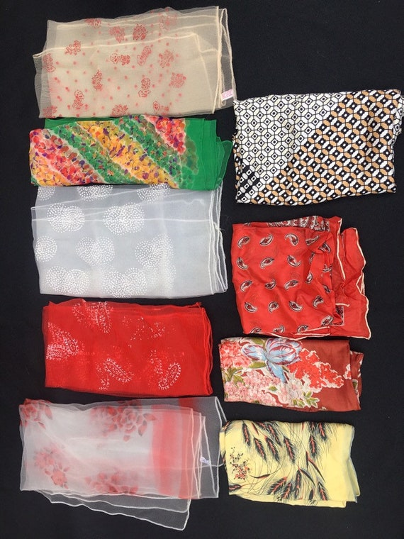 Vintage 1940s 1950s Lot of 9 silk and Nylon scarfs