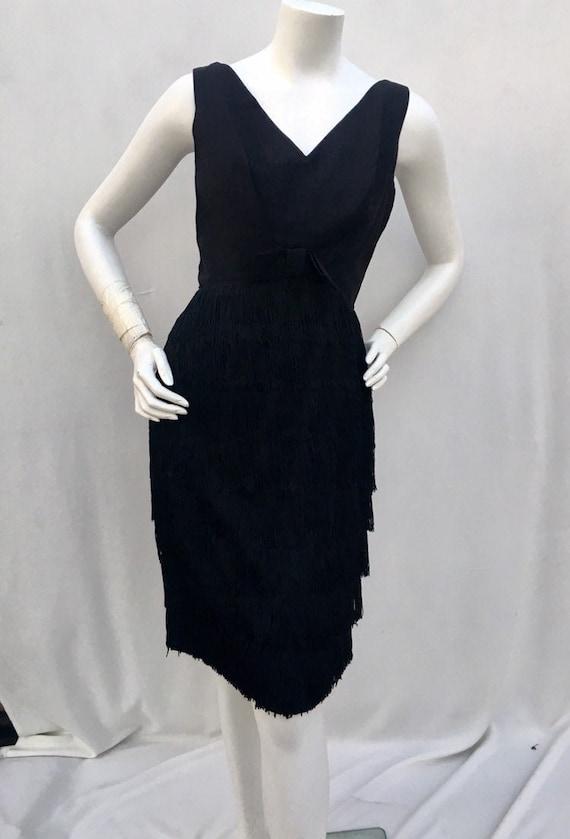Vintage 1950s 50s Black fringe skirt wiggle cockta