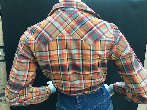 Vintage 1940s 1950s Western Plaid shirt/Blouse MI… - image 9