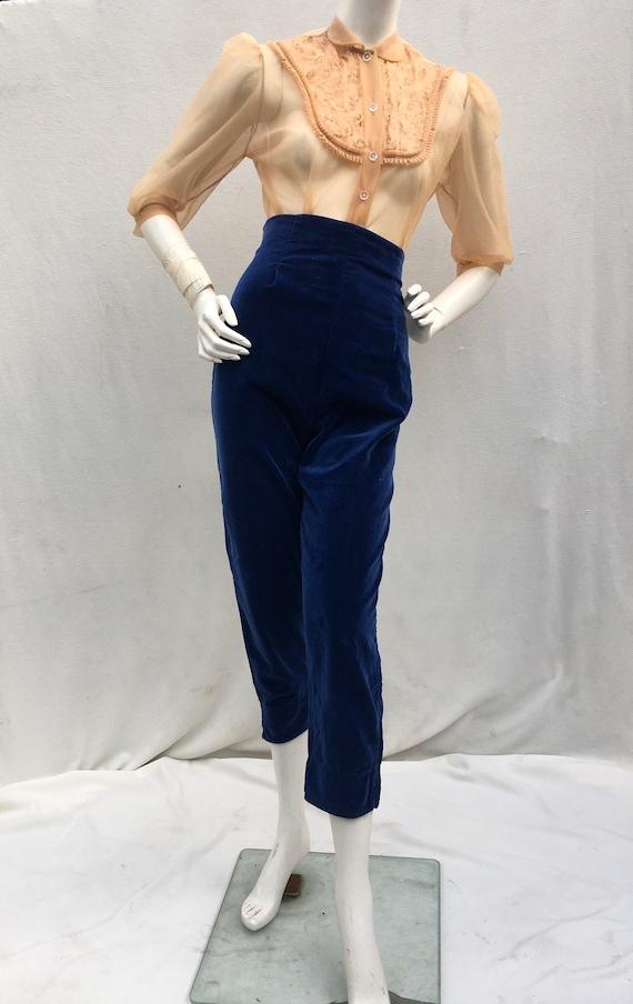 Vintage 1950s 50s Blue Velvet high waist cigarette