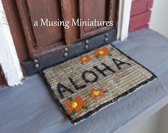 NEW Hand Painted Sisal Doormat Aloha Welcome In 1:12 Scale For Dollhouse  Miniature Beach House