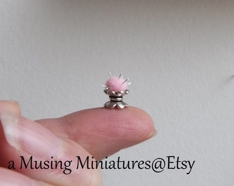 Pink Victorian Pincushion and Thimble in 1:12 Scale for Shabby Dollhouse Sewing Roombox