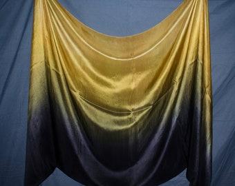 Belly Dance Silk Veil Old Gold Black Ombré 6 mm IN STOCK