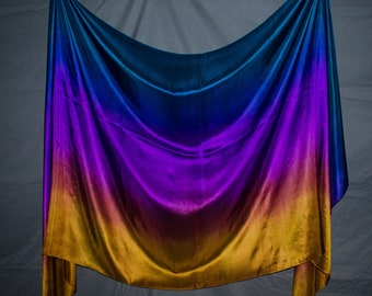 Teal Purple Old Gold Ombré Peacock Veil 6 mm IN STOCK