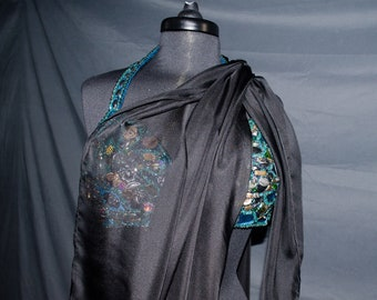Belly Dance Iridescent Silk Chiffon Luxe Black IN STOCK
