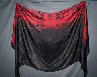 Belly Dance Silk Veil Gothic Oxblood Red Black IN STOCK