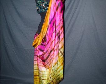 Belly Dance Silk Veil Hot Pink Gold Shibori Tie-Dye IN STOCK