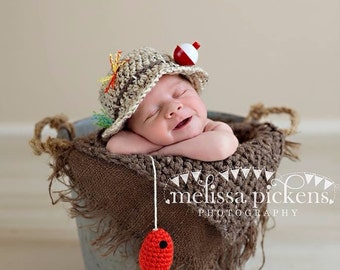 READY TO SHIP Baby Fishing Hat   Fish in Oatmeal and Taupe ccf50b3e3cb