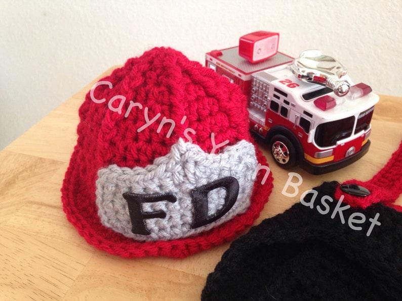 331e19dd275 CROCHET PATTERN Baby Fireman Firefighter Hat Newborn 0-3
