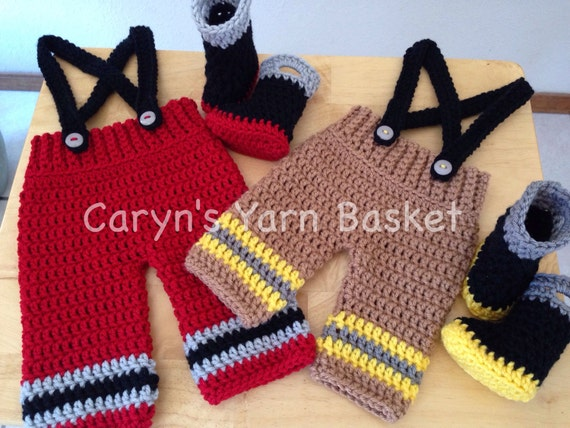 CROCHET PATTERN Baby Fireman Pants Suspenders & Boots   Etsy