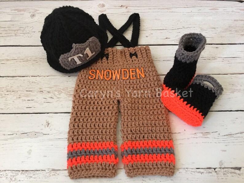 d80eaf0e3e9 ORIGINAL DESIGN Baby Firefighter Hat Outfit 4 pc Crochet Turn