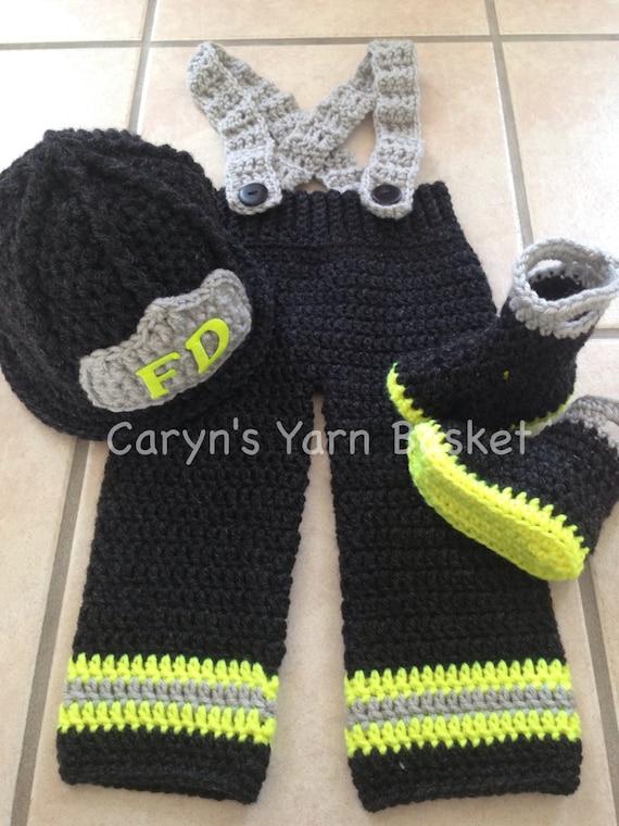 Crochet Pattern 9 12m Size Baby Firefighter Fireman Hat Pants