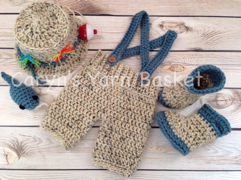 KIT w/patrón conjunto de pesca/pescador de bebé de ganchillo | Etsy