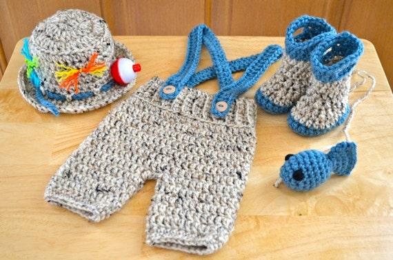Crochet Pattern Newborn Baby Fishingfisherman Set Fishing Etsy