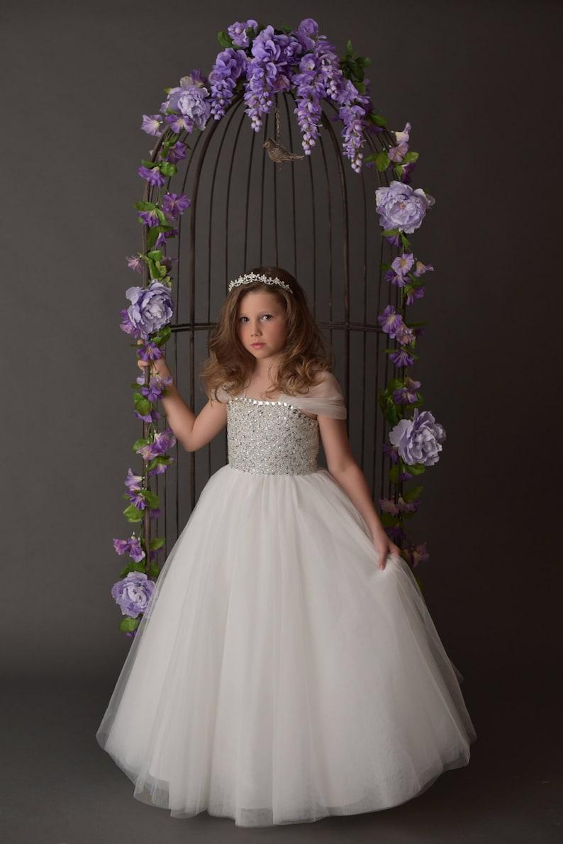 b7c2fcd92d0 Beaded Full Length Tull Wedding Flower Girl Dress LS016