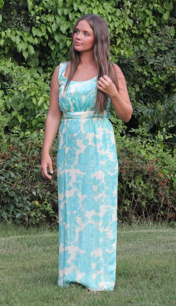 Vintage 60s Lee Claire Maxi Dress