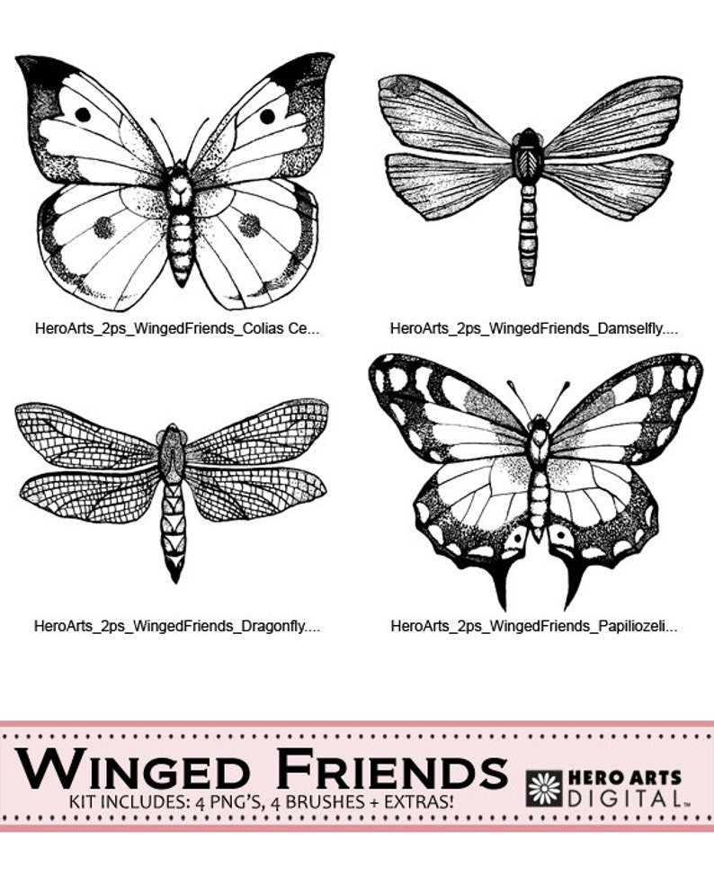 Instant download Hero Arts Winged Friends DK033 Butterfly image 0