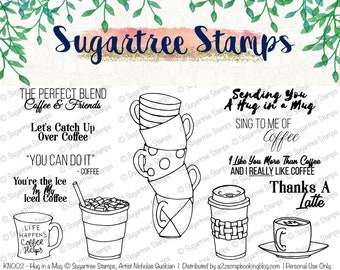 Hug in a Mug Sugartree Stamps INSTANT DOWNLOAD KN002  | Digital Stamps, Coffee, Latte, Iced Coffee, Coffee Cup Stack, Clipart, Line Art