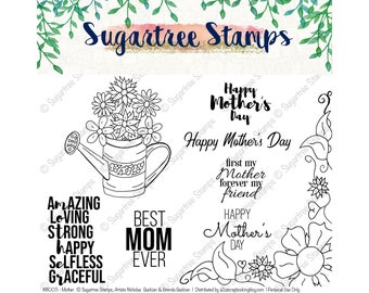 Mothers INSTANT DOWNLOAD Sugartree Stamps KN003 Digital Stamps, Mothers Day Stamps, Best Mom Ever, Floral Border, Line Art, Moms Birthday