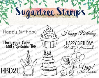 Party Animal Sugartree Stamps INSTANT DOWNLOAD KN001 | Digital Stamps, Birthday, Party, Party Animal, Cupcake, Clipart, Coloring, Printable