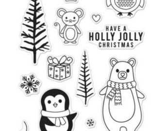 SALE Hero Arts Stamps: Holiday Animals CM103 matches Die DI317 Christmas Stamps. Holiday Stamps, Bear Stamps, Penguin Stamps, Card Making