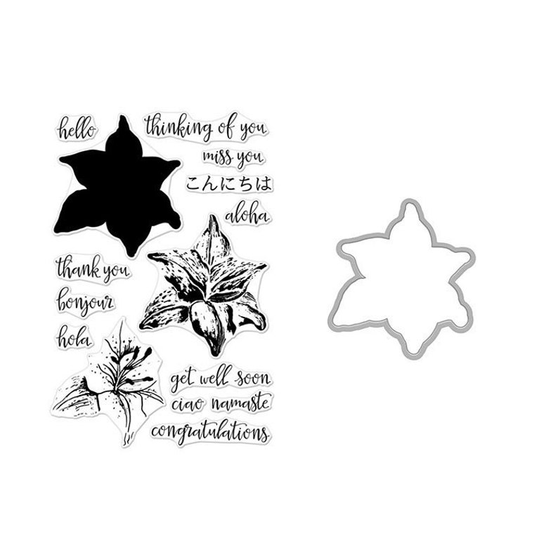 Hero Arts Color Layering Tiger Lily Clear Stamps and Die image 0