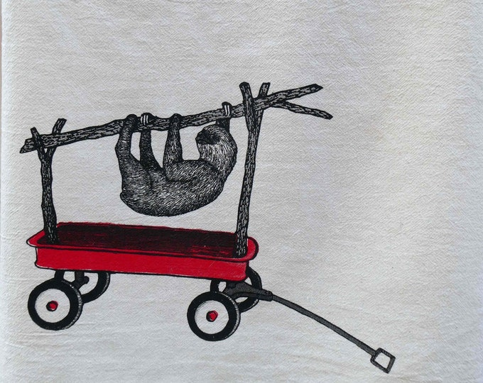 Sloth in a Wagon, Tea Towel