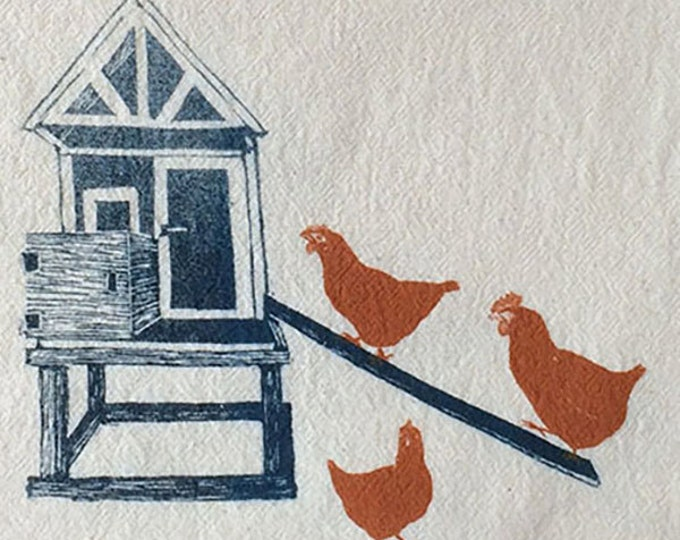 Chicken Coop, tea towel, hand printed