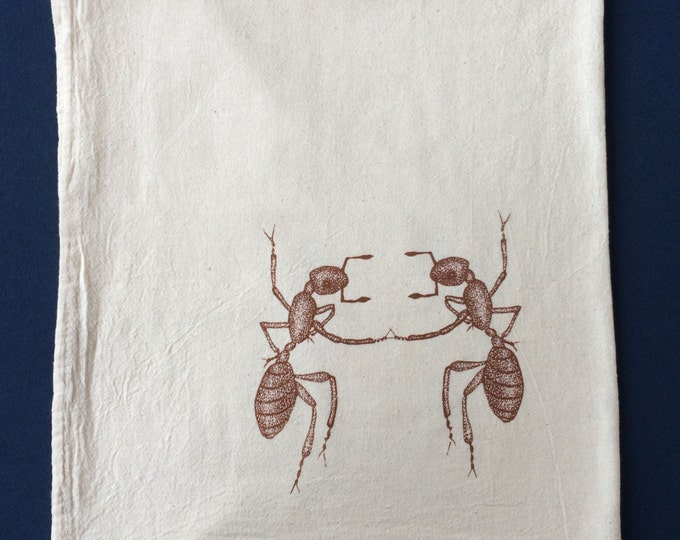 Ants dancing tea towel, Eco friendly flour sack towel