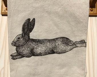 Tea Towel, Screen Printed Flour Sack Towel, lounging bunny rabbit, handmade, eco-friendly, kitchen towel, dish towel