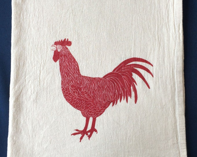 Rooster, tea towel, eco friendly hand printed