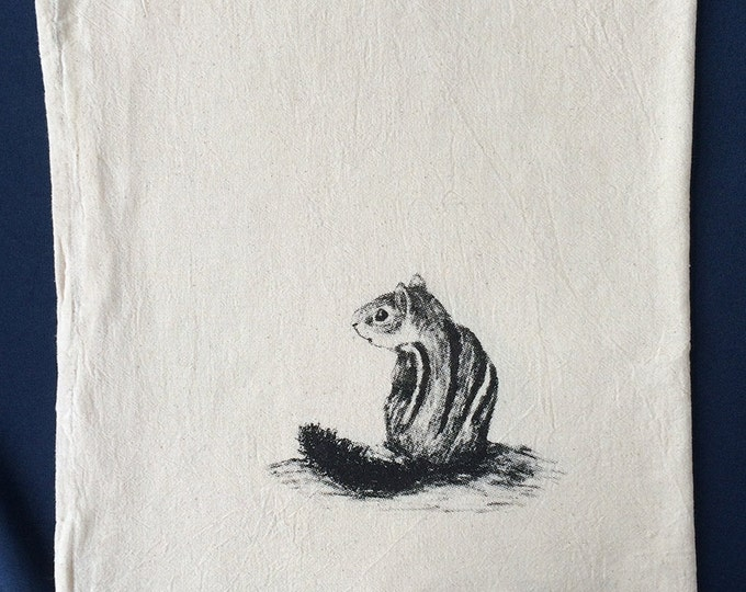 Chipmunk, tea towel, hand printed