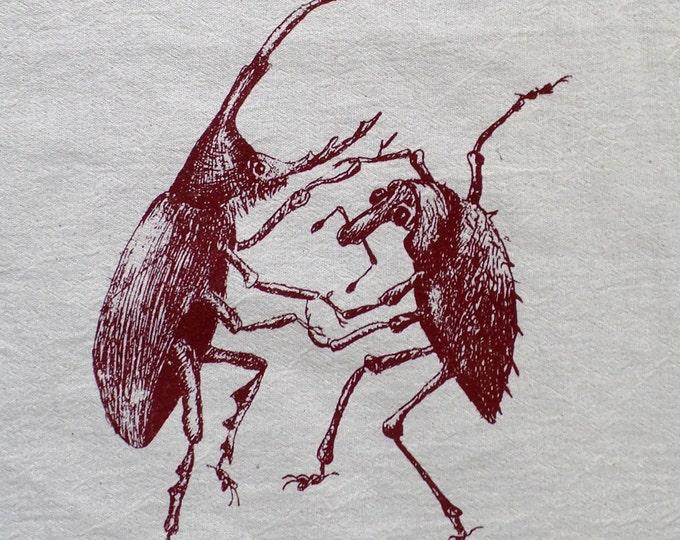 dancing beetles,  tea towel, hand printed