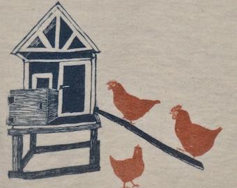 Chicken Coop, tea towel, hand printed