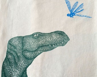 Dinosaur with Dragon fly, tea towel, hand printed