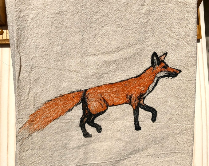 Tea Towel, Screen Printed Flour Sack Towel, Fox, handmade, eco-friendly, kitchen towel, dish towel