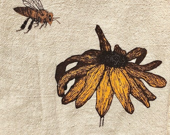 Honey bee with Black-eyed Susan, eco-friendly tea towel