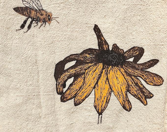 Honey bee with Black-eyed Susan, eco-friendly tea towel