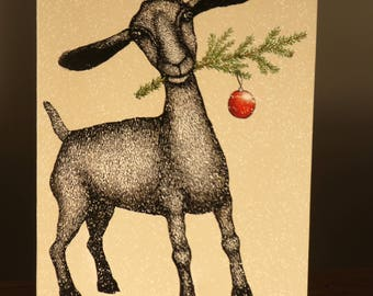 goat holiday greeting card, eco-friendly