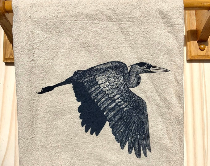 Tea Towel, Screen Printed Flour Sack Towel, Blue Heron, bird, handmade, eco-friendly, kitchen towel, dish towel