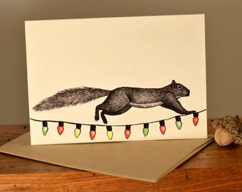 Eco friendly squirrel holiday greeting card