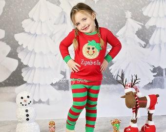 girls christmas pajamas sibling christmas pajamas monogrammed appliqud pajamas gingerbread christmas pajamas infant and children sizes