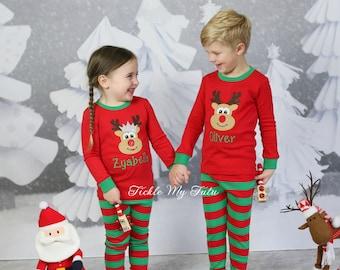 christmas pajamas sibling christmas pajamas monogrammed appliqud pajamas reindeer christmas pajamas infantchildren choose boys or girls
