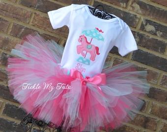 Carousel Birthday Tutu Outfit-Carousel Pony Dark Pink, Pink and Aqua Birthday Tutu Outfit-Carousel Birthday Outfit-Carousel Party Tutu Set